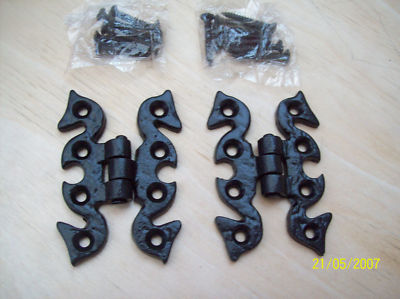2 x decorative black cabinet butterfly hinges 70mm - Decorative Hinges