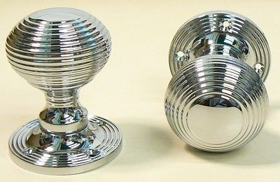 POLISHED CHROME REEDED QUEEN ANNE BEEHIVE MORTICE DOOR KNOBS PULL ...