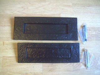 "10 x 3/""  HEAVY BLACK ANTIQUE WROUGHT IRON LETTER BOX PLATE"